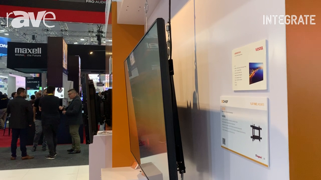 Integrate 2019: Chief Demos the FCS1U Mount in Front of Retail Glass Windows on the AV Supply Stand