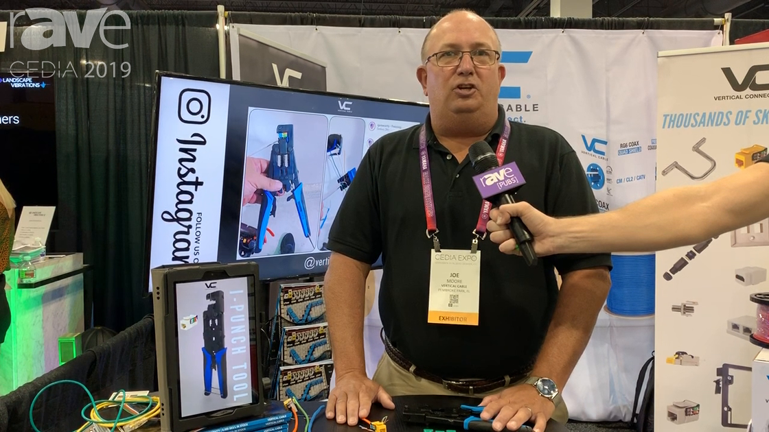 CEDIA 2019: Vertical Cable Demos Its I-Punch Termination Tool for One-Step Cat Cable Termination