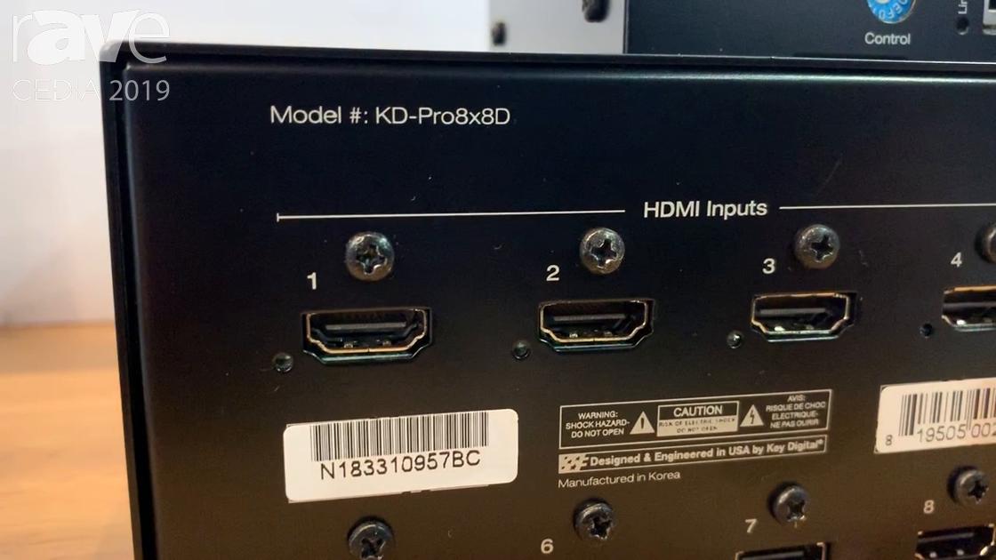 CEDIA 2019: Key Digital Shows Off the KD-Pro8x8D 8×8 4K POH/HDBT/HDMI Matrix Switcher