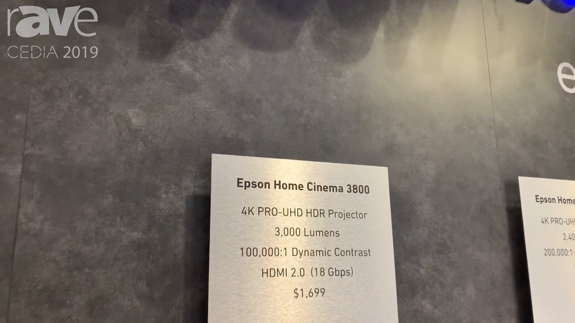 CEDIA 2019: Epson Features Epson Home Cinema 3800 4K Pro UHD HDR Projector