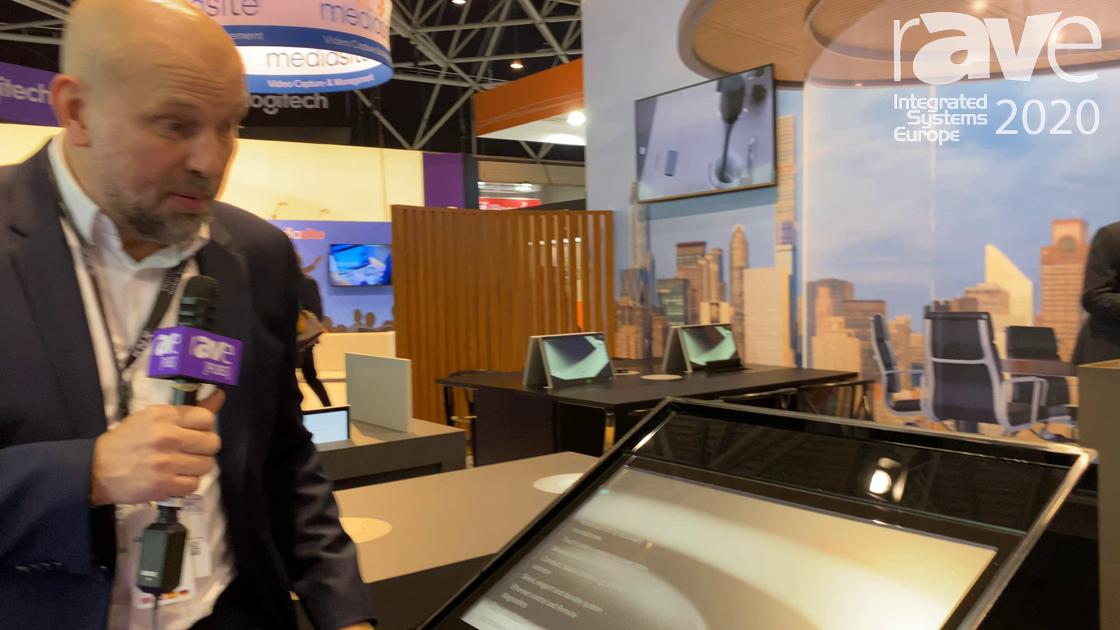 ISE 2020: Arthur Holm Demos Its All-Glass Pylon Podium Information Display
