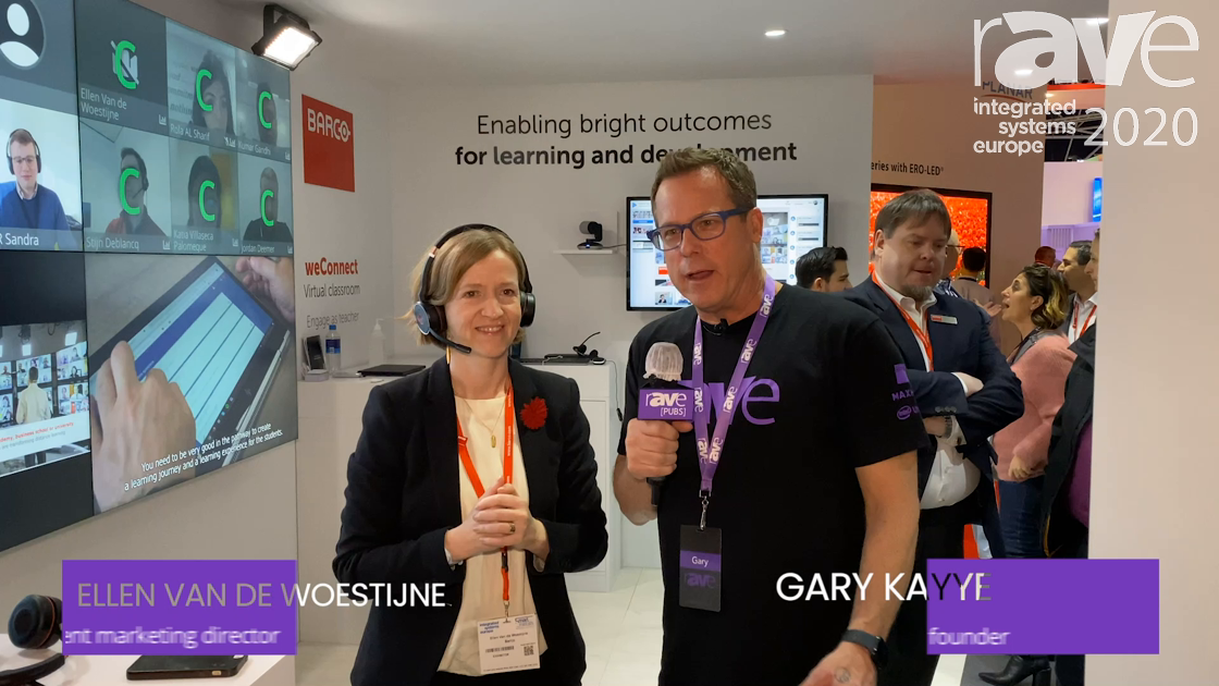 ISE 2020: Barco WeConnect Marketing Director Ellen Van de Woestijne Does Live Demo for Gary Kayye