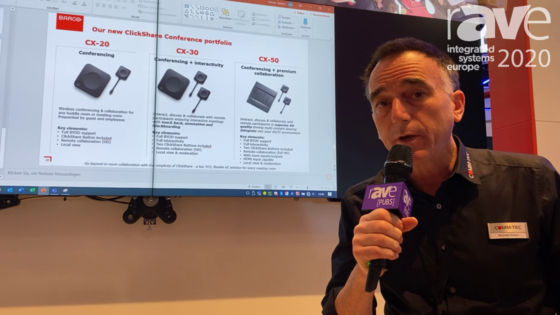 ISE 2020: Barco Features the Clickshare Conference CX Series on the COMM-TEC Exertis Stand