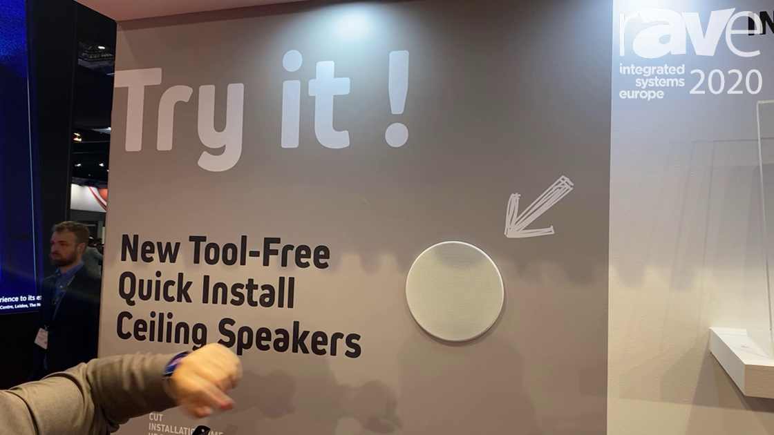 ISE 2020: LUMI AUDIO Demonstrates Tool-Free Quick Install Ceiling Speakers in the Lumi Legend Stand
