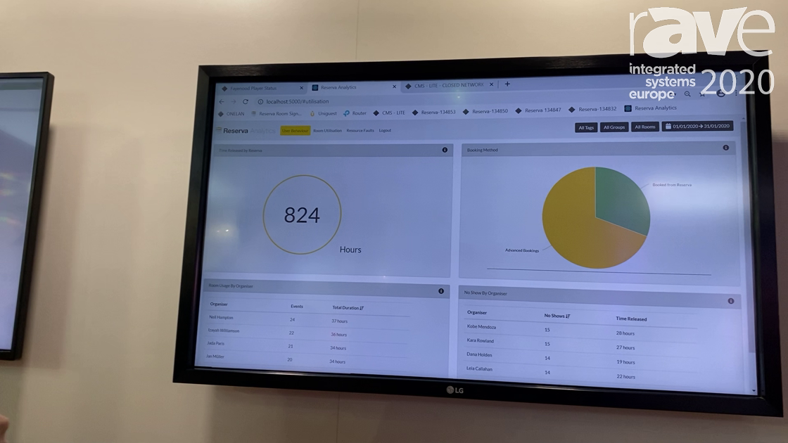 ISE 2020: Onelan Intros the Reserva Analytics System for Tracking Data About Meeting Rooms