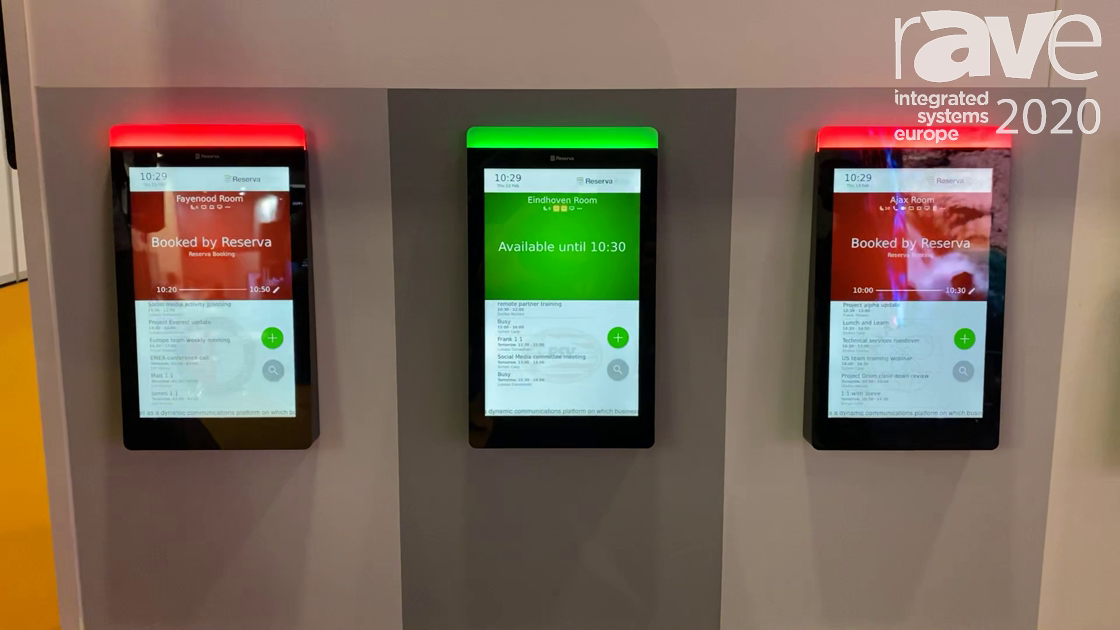 ISE 2020: Onelan Features New Reserva Edge Meeting Room Sign With Edge-to-Edge Glass