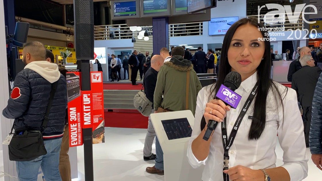 ISE 2020: Electro-Voice Showcases EVOLVE 30M Portable Column Speaker with Line-Array Construction