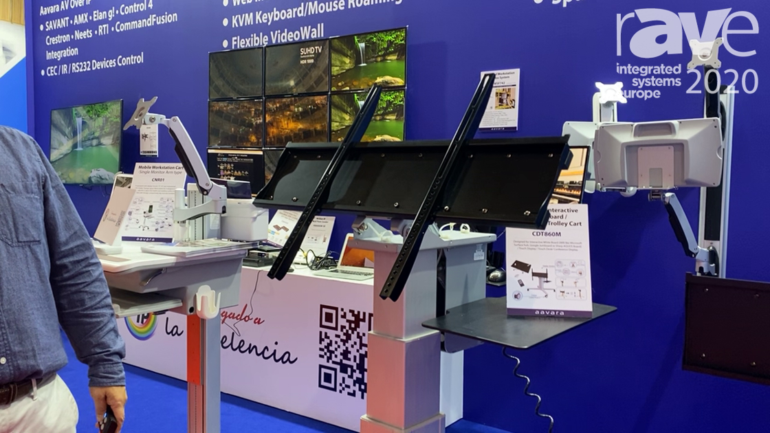 ISE 2020: Aavara Intros Motorized Interactive Whiteboard/Touch Desk Trolley