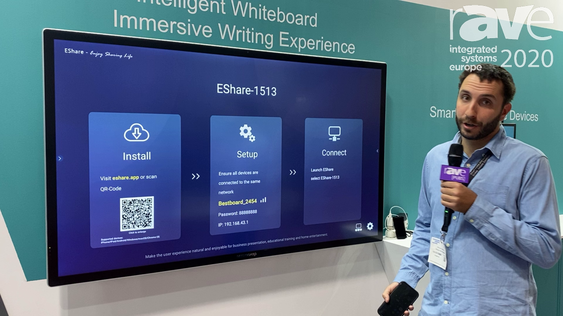 ISE 2020: BESTBOARD Demos Mirroring Function Using EShare on Its Interactive Displays