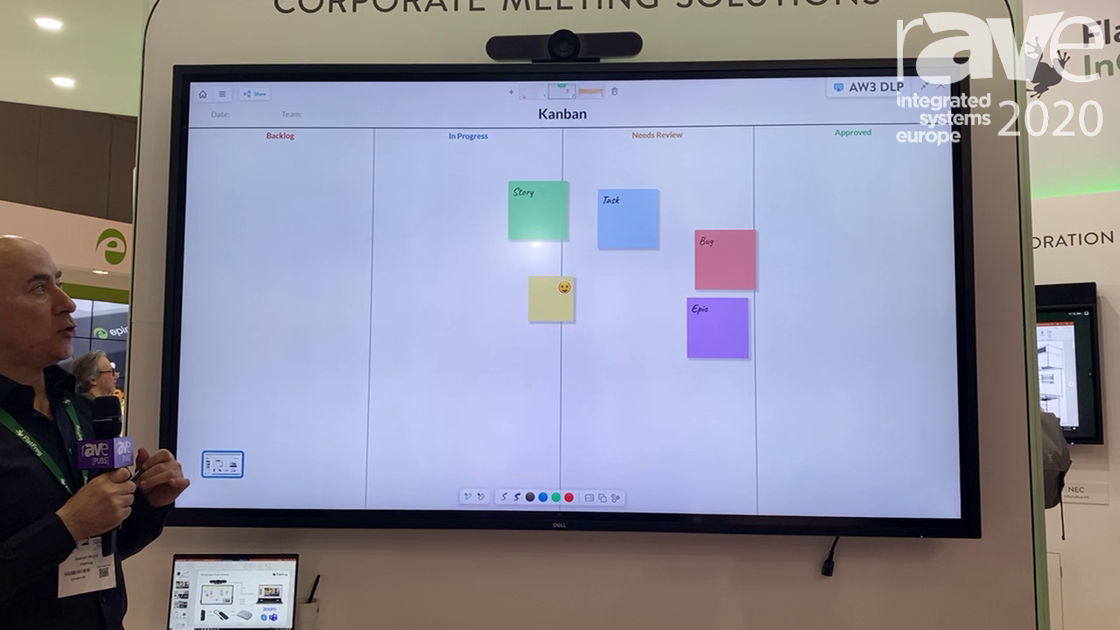 ISE 2020: FlatFrog Demos DELL 86″ C8621QT with FlatFrog Board Features Including BYOD