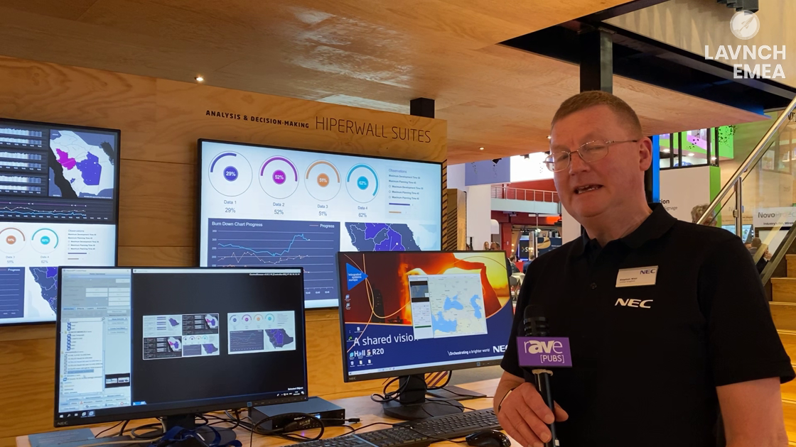 LAVNCH EMEA: NEC Displays Demos Hiperwall Software for Displaying Multiple Sources on Video Walls