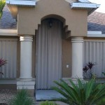 Front of South Florida Home using Aluminum Hurricane Shutters