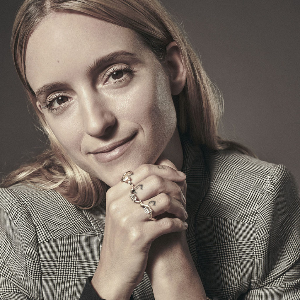 Charlotte Groeneveld with ring from Ame Jewelry's Angle Collection
