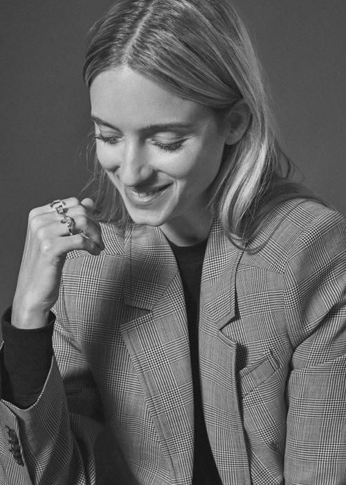 Charlotte Groenveld wearing rings by Ame Jewelry