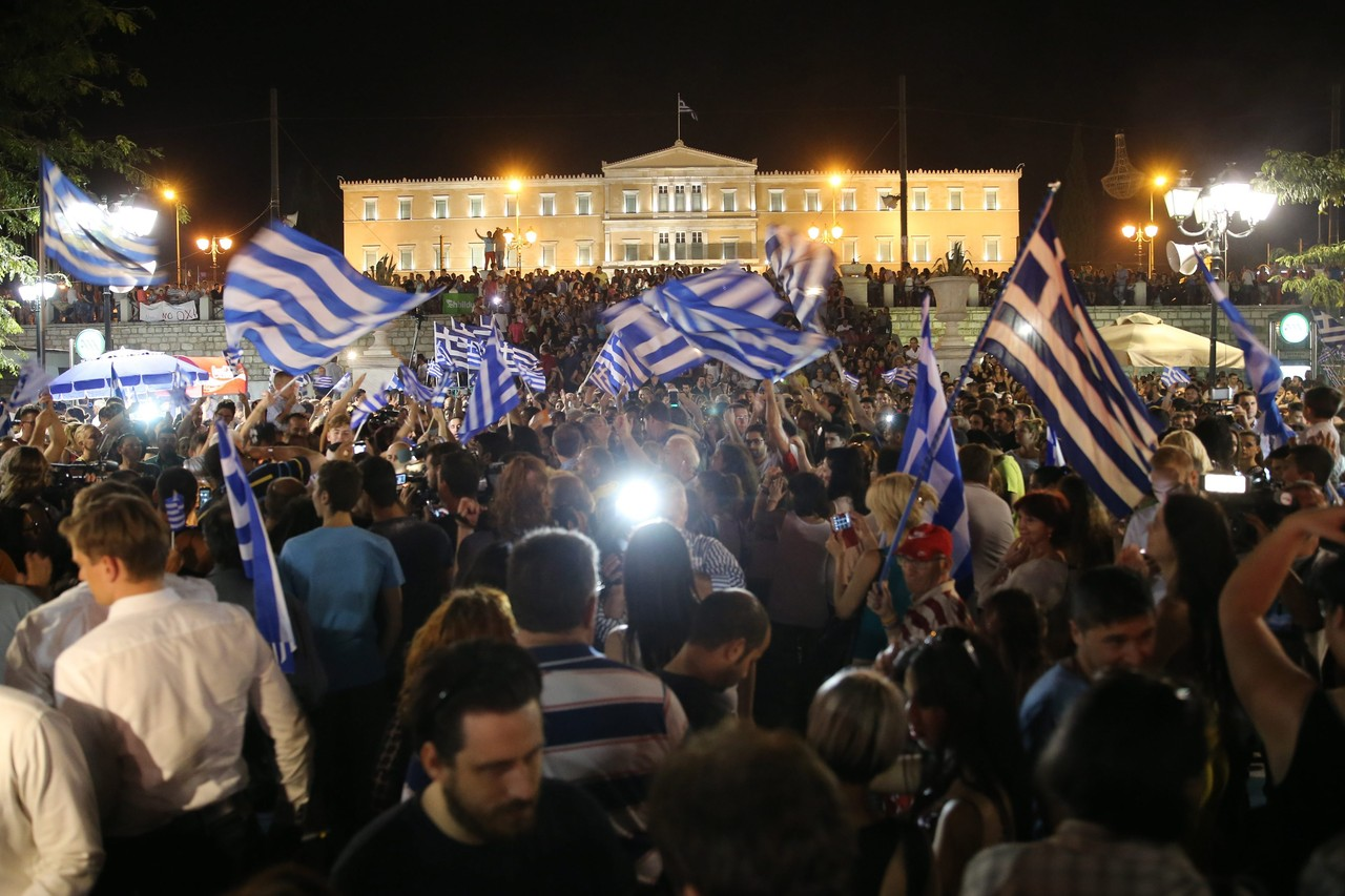 Oxi Day 2, Greeks celebrate the July 5, 2015 referendum voting down further auterity measures from the IMF and Germany and the EU