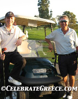 Denny Rigas, senior golf champion of Greece, with James Stathis