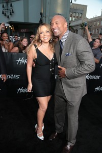 Dwayne Johnson (Hercules) and Mariah Carey at the 2014 Los Angeles Premiere of MGM's HERCULES