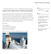 Designer Tadashi's mention of Goddess and the Greek's™ wedding dress choice.