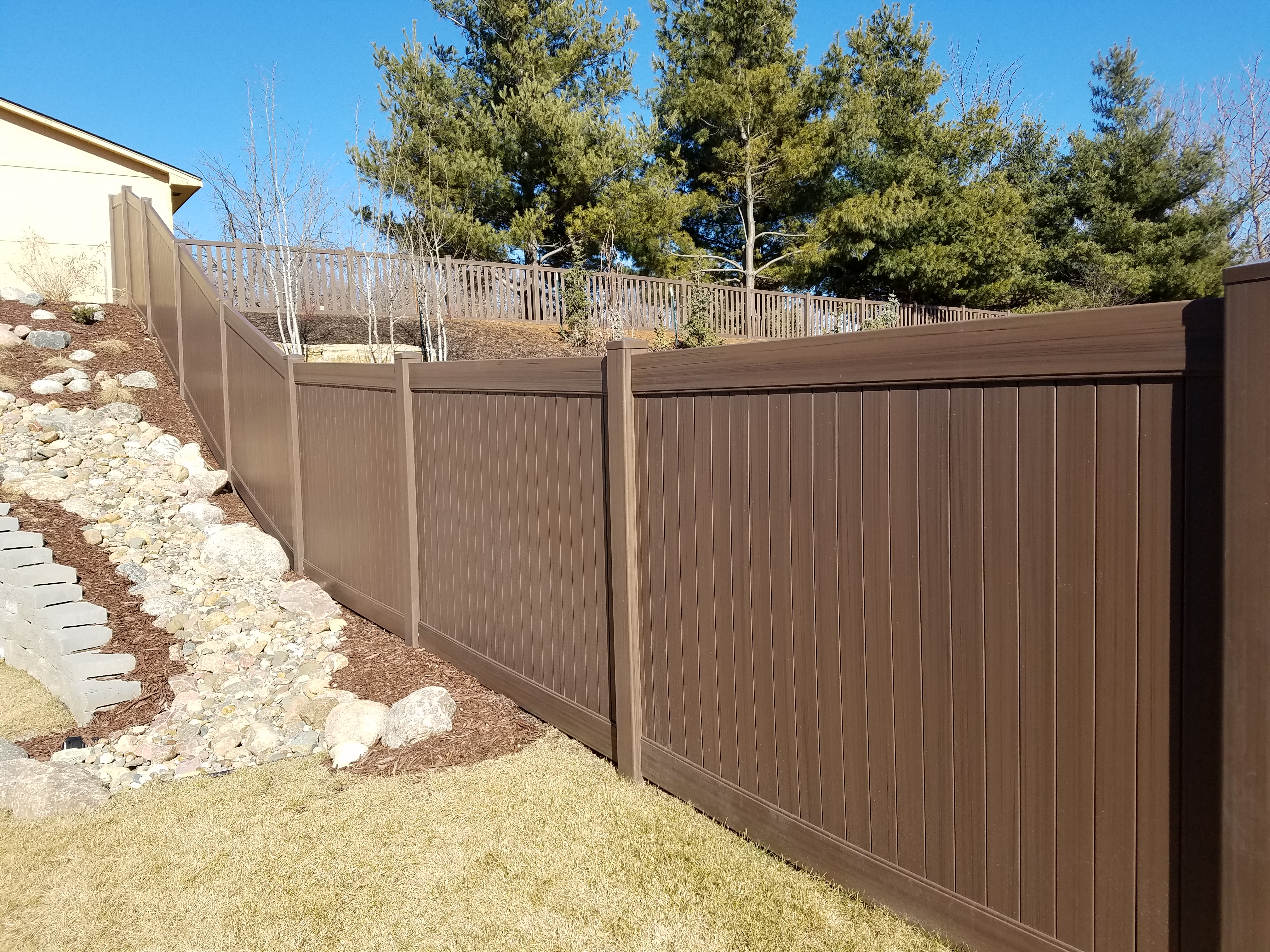 Beautiful Chestnut Brown Woodland Select Vinyl Fencing