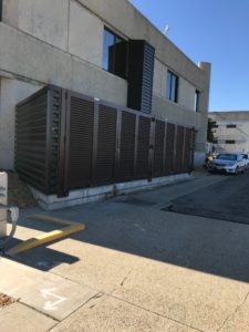 A Palmshield louvered fence on the side of a City of Los Angeles building