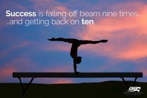 "Get Back on Beam Motivational - 60"" X 34"" Gymnastics Banner"