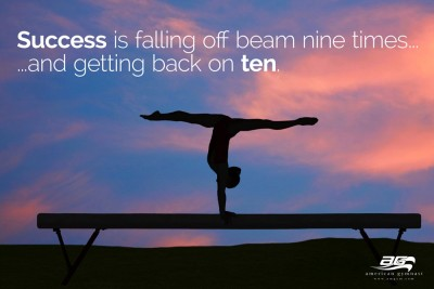 "Get Back on Beam Motivational - 72"" X 46"" Gymnastics Banner"