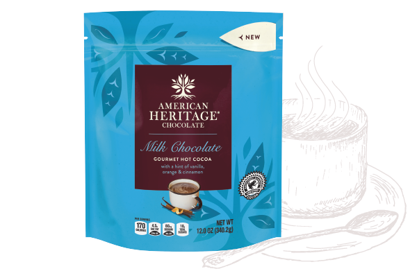 A package rendering of American Heritage Chocolate Gourmet Hot Cocoa with line sketches behind it