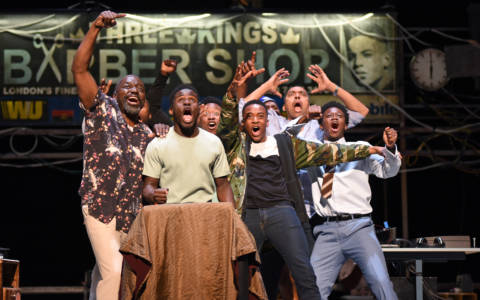 The ensemble of Barber Shop Chronicles.