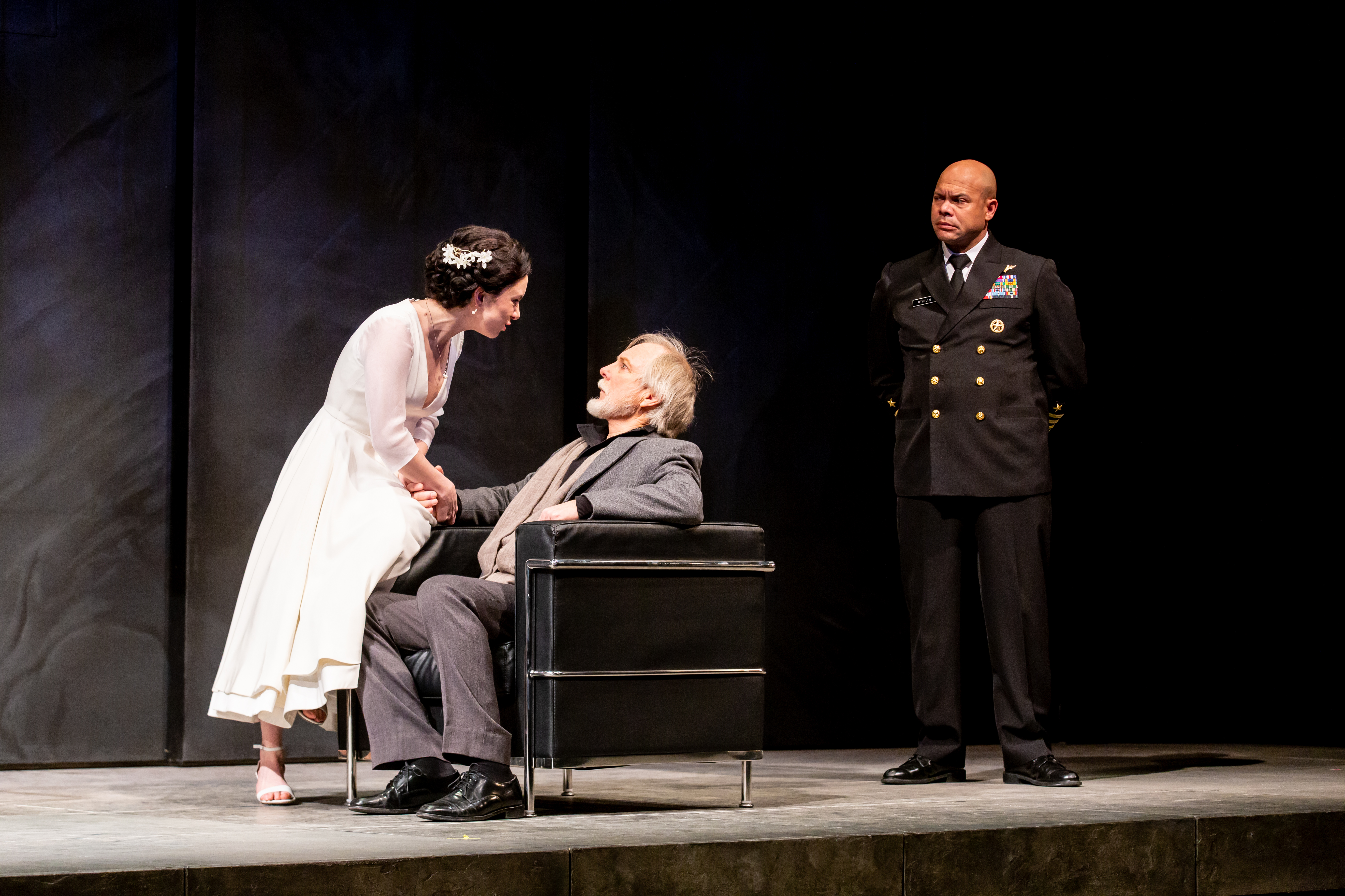 Alejandra Escalante, Richard Howard, and Chris Butler in Othello.
