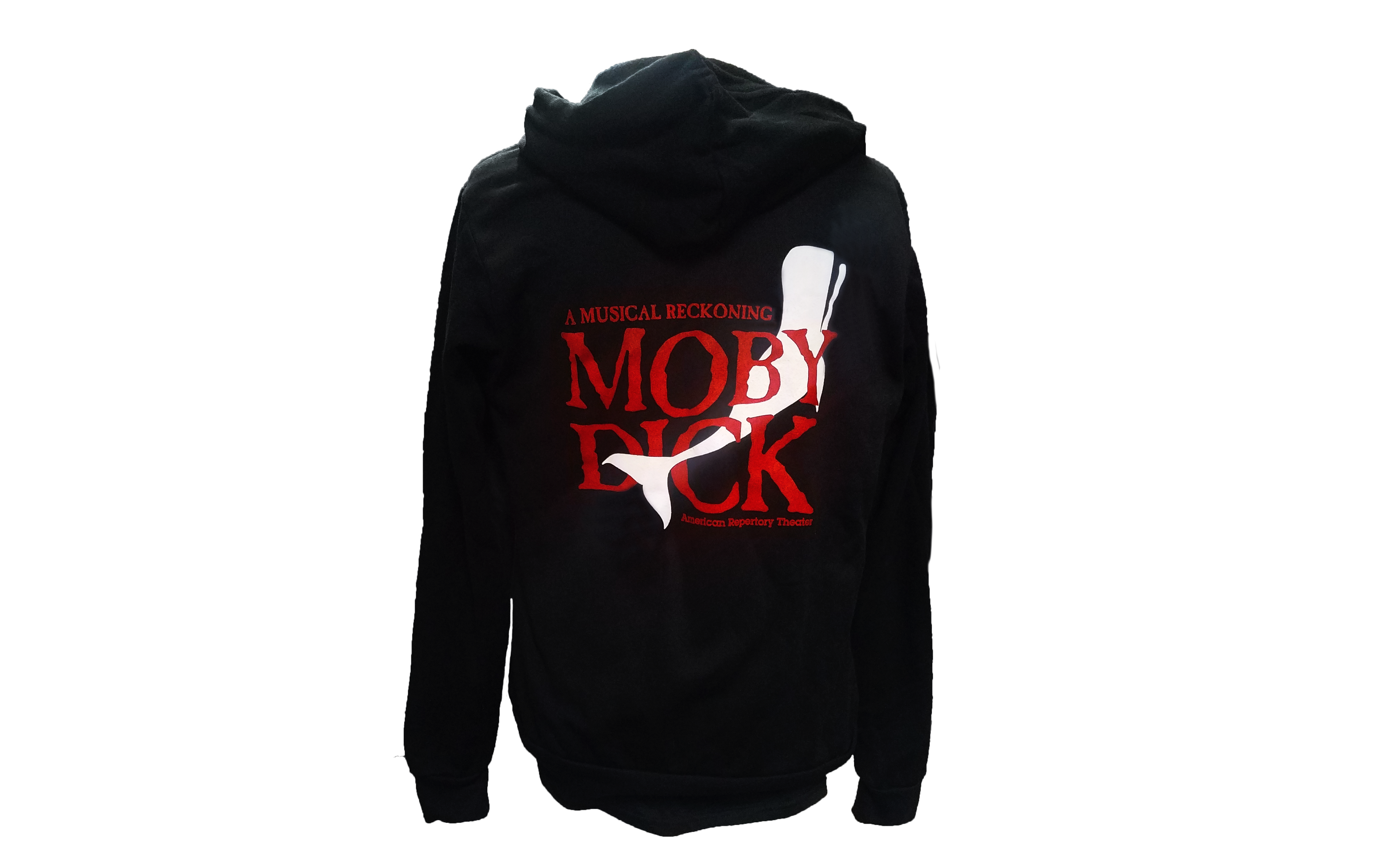 "Black hooded, zip-up sweatshirt that says in red, ""A Musical Reckoning Moby Dick,"" and a white whale."