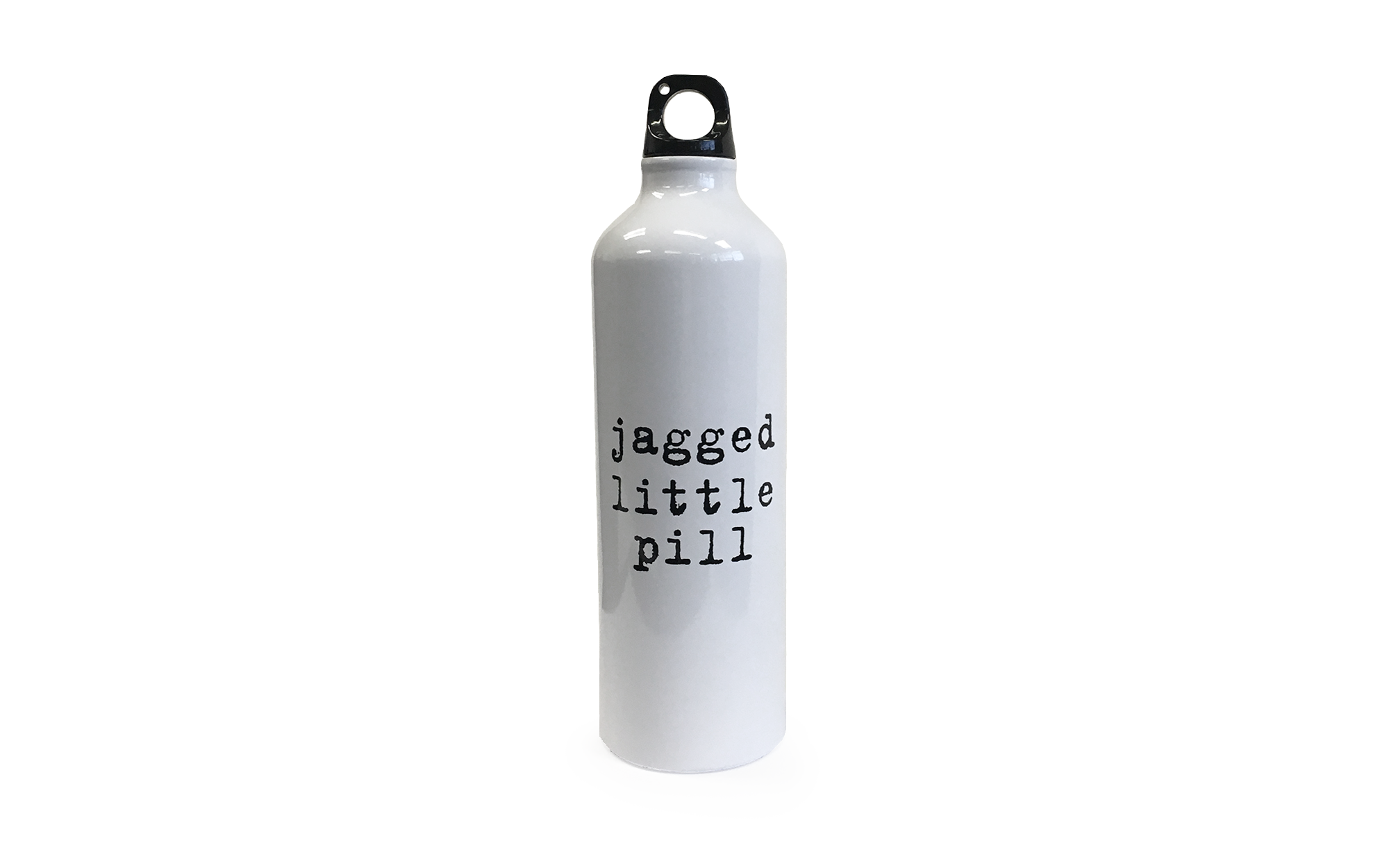 "White water bottle that says, ""Jagged Little Pill."""