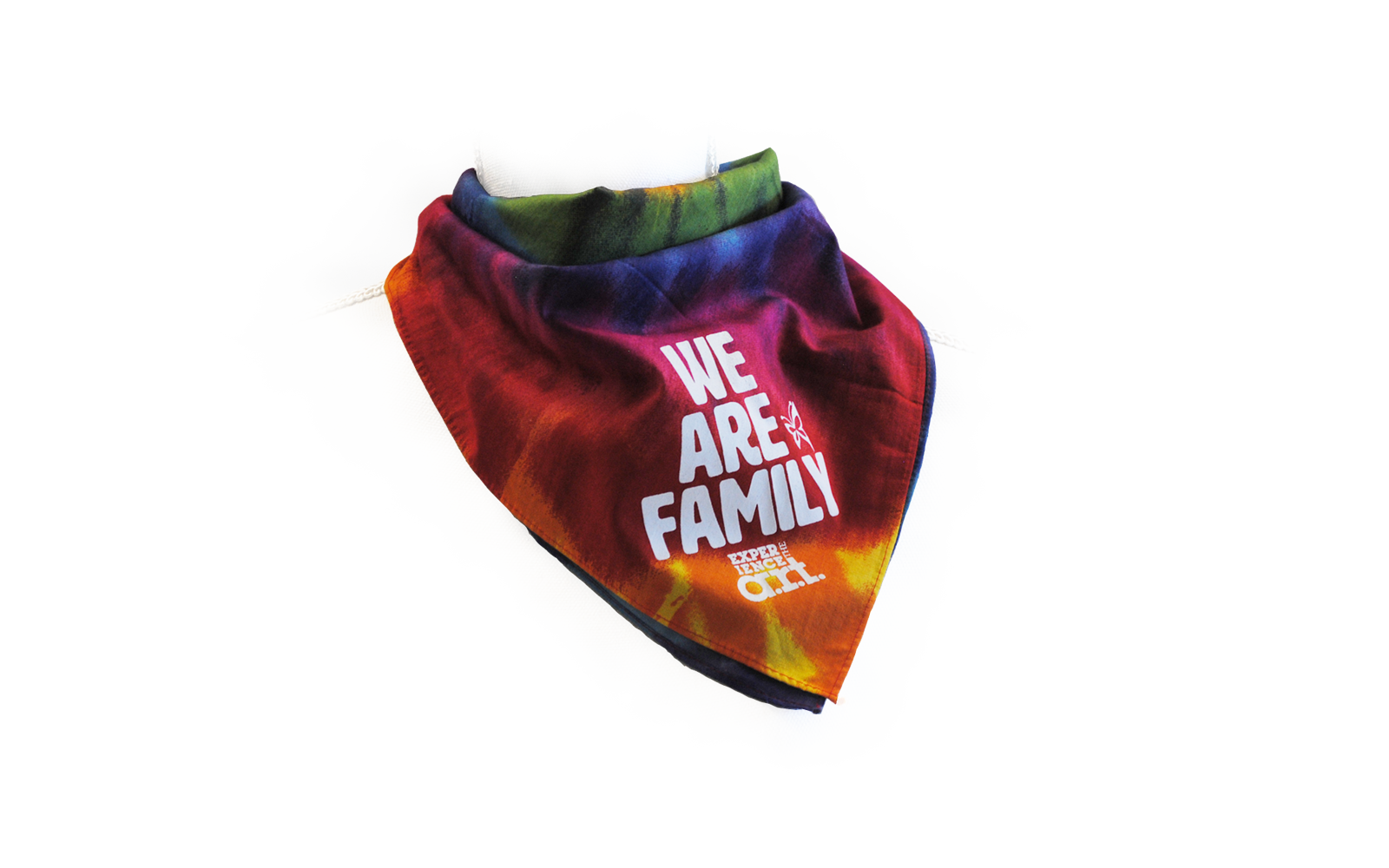 "Rainbow tie-dye bandana that says, ""We Are Family."""
