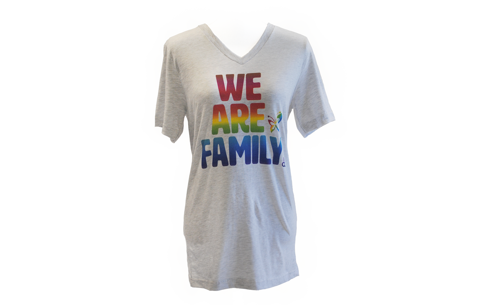 "Heather light gray V-neck T-shirt that says, ""We Are Family"" in rainbow."