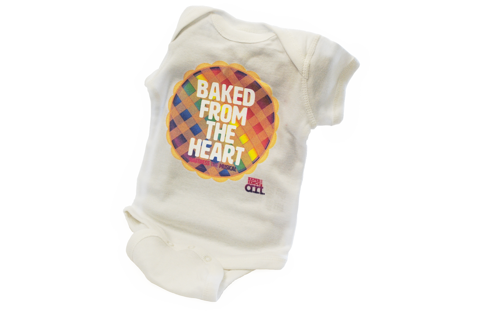 "White baby onesie with a rainbow colored pie that says, ""Baked From the Heart."""