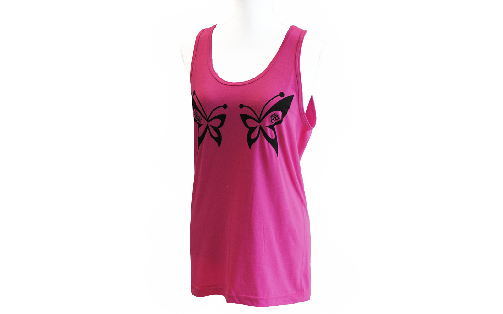 Pink tank top with two butterflies printed on the breast.