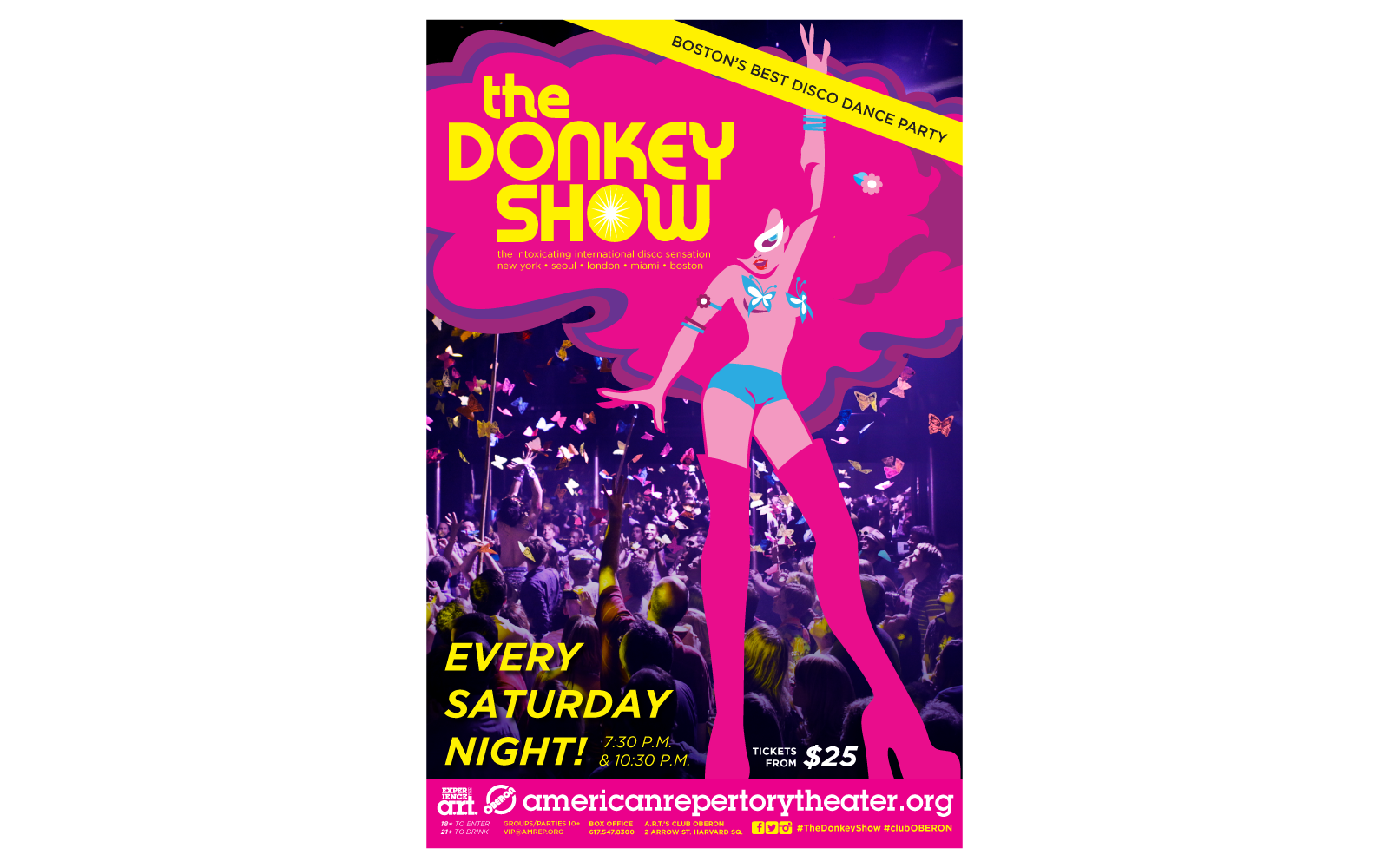 "A poster to The Donkey Show, ""Boston's Best Disco Dance Party"""