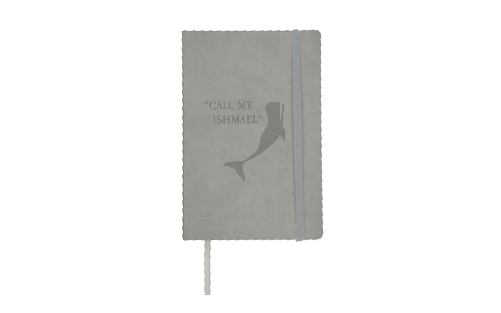 """Gray notebook that says, """"Call me Ishmael,"""" next to a whale."""