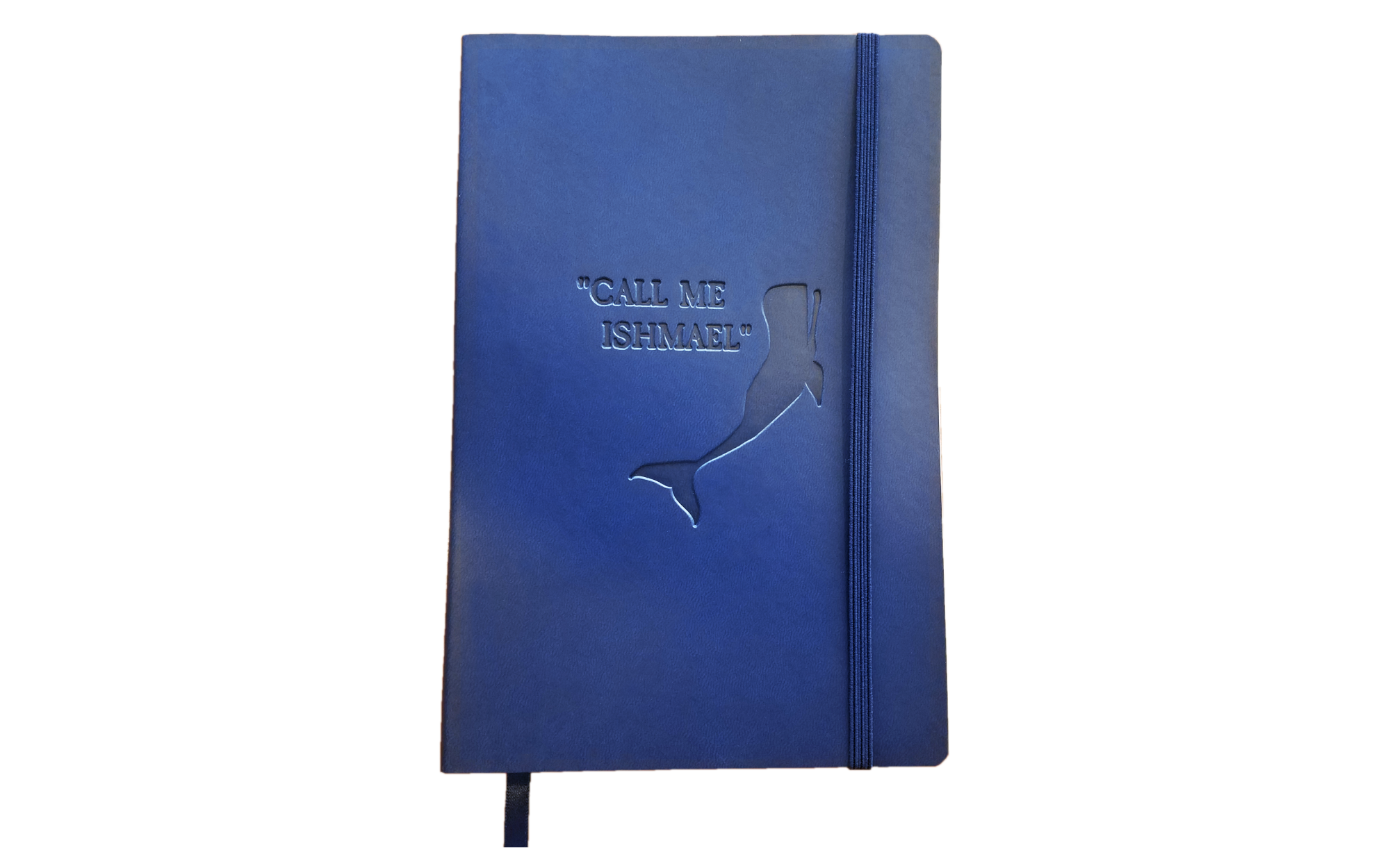 """Blue notebook that says, """"Call me Ishmael,"""" next to a whale."""
