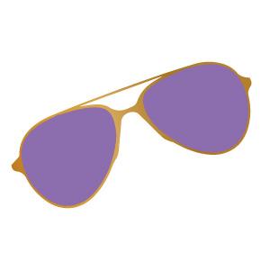 Purple-colored aviator sunglasses.