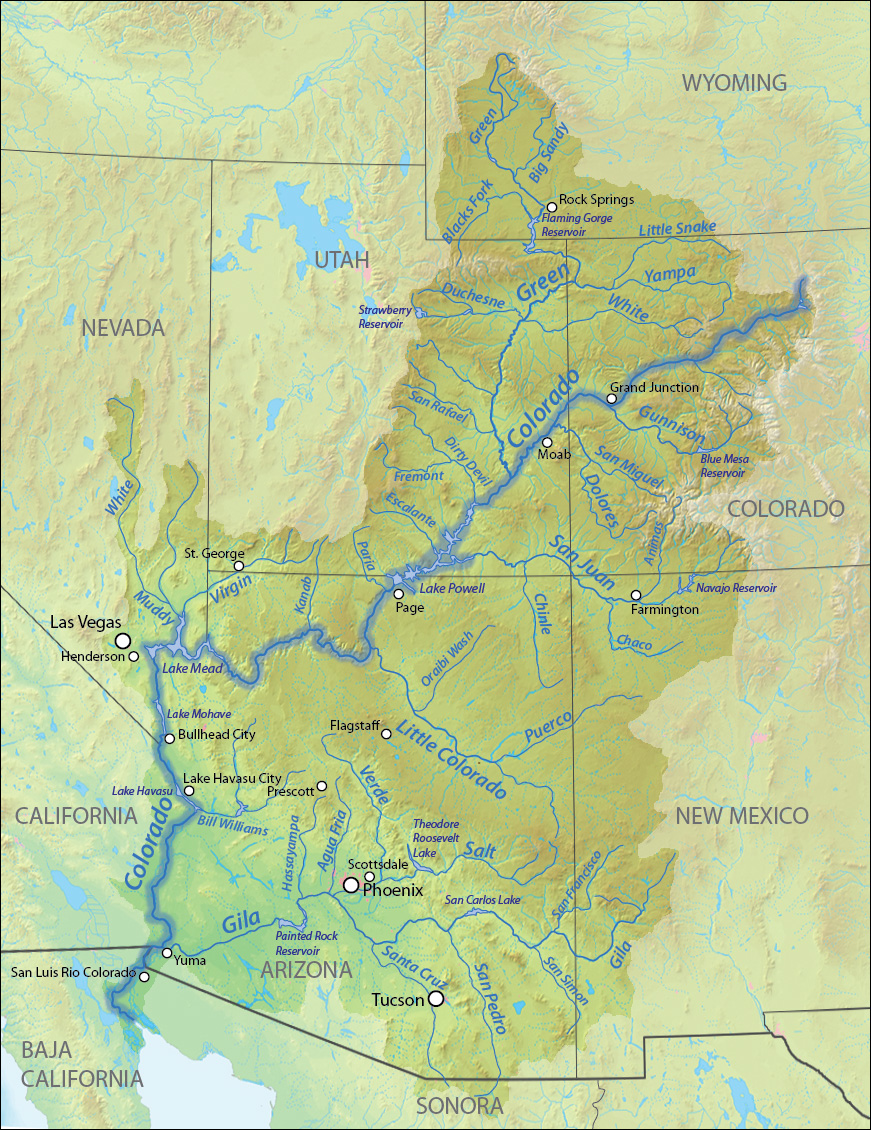 American Southwest Map Of The Colorado River Basin Wikimedia
