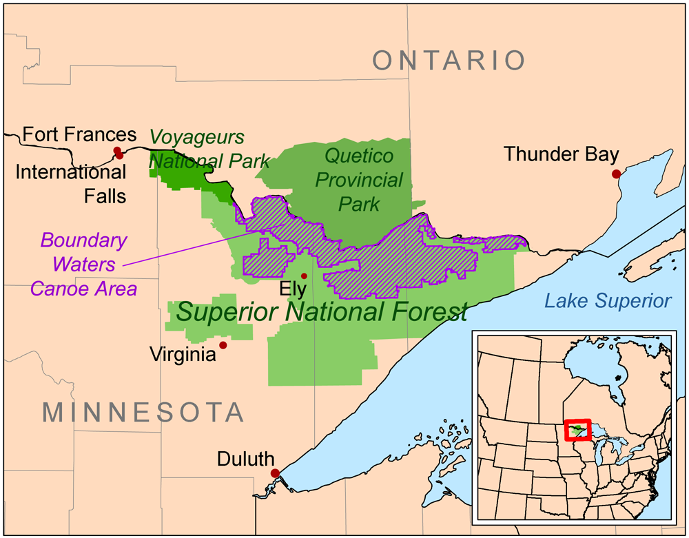 The Boundary Waters Canoe Area Wilderness within the Superior National Forest | WIkimedia