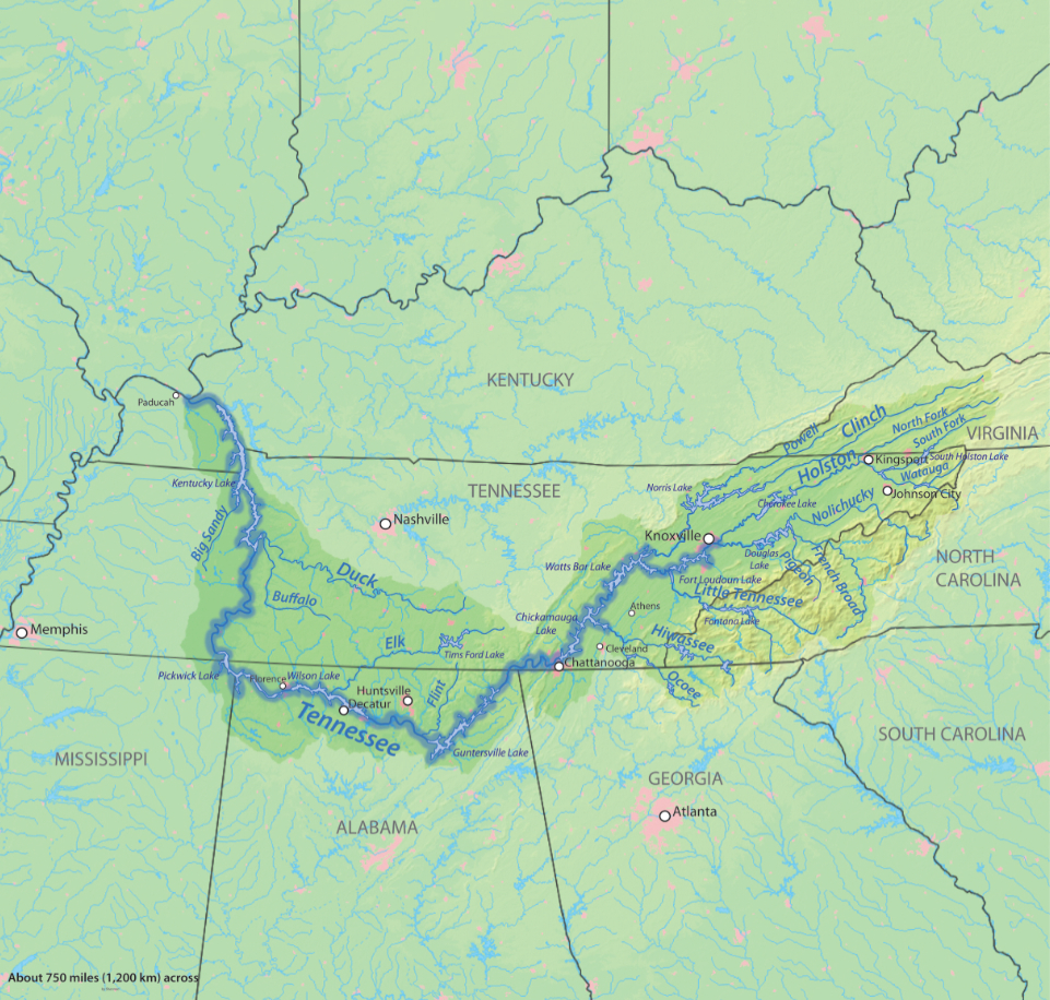 Tennessee River Map Holston River | American Rivers Tennessee River Map