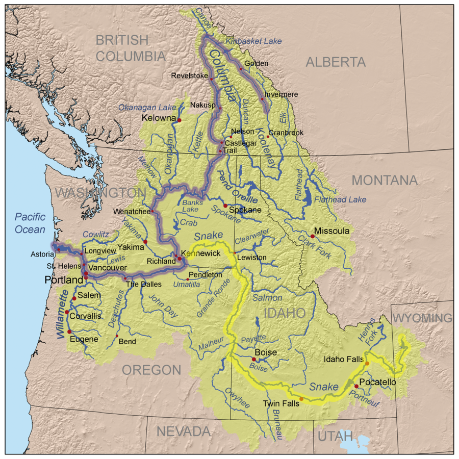Columbia River American Rivers - Us map with rivers and mountains