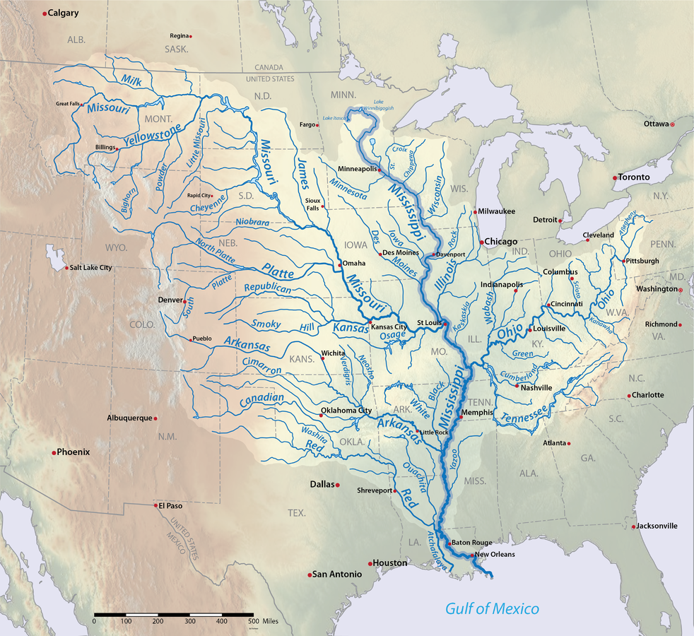 Mississippi River American Rivers - Maps of usa rivers