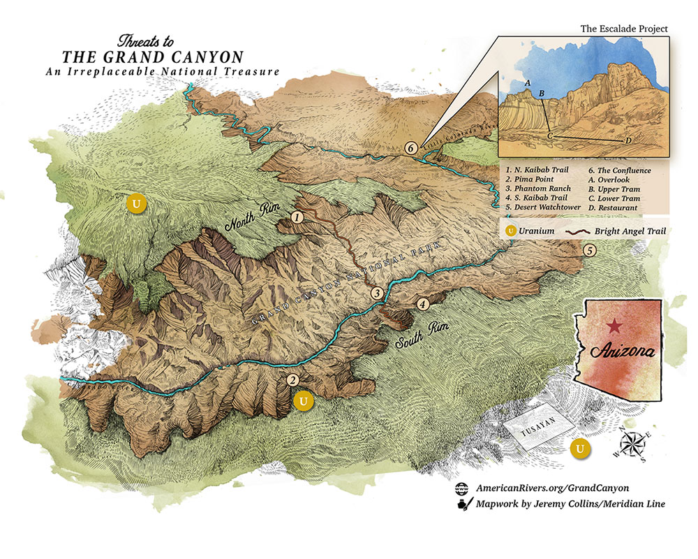 Map Of Arizona And Grand Canyon.Colorado River In The Grand Canyon American Rivers