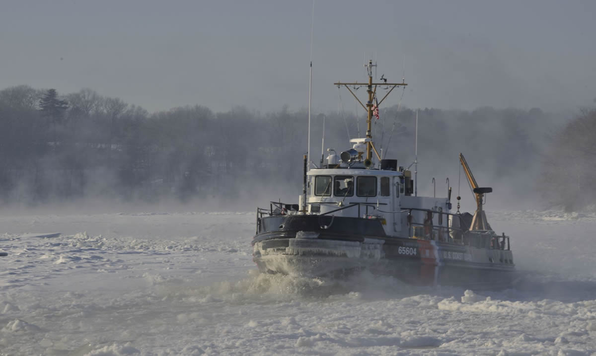 Coast Guard Cutters Tackle breaks ice and creates sea smoke along the Penobscot River in Brewer, Maine | Petty Officer 2nd Class Rob Simpson