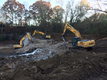Phase two of the Shuford Dam removal. | Erin Singer McCombs
