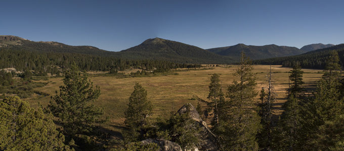 Panorama of Hope Valley Meadow looking north from the very upper end of the meadow. | Daniel Nylen