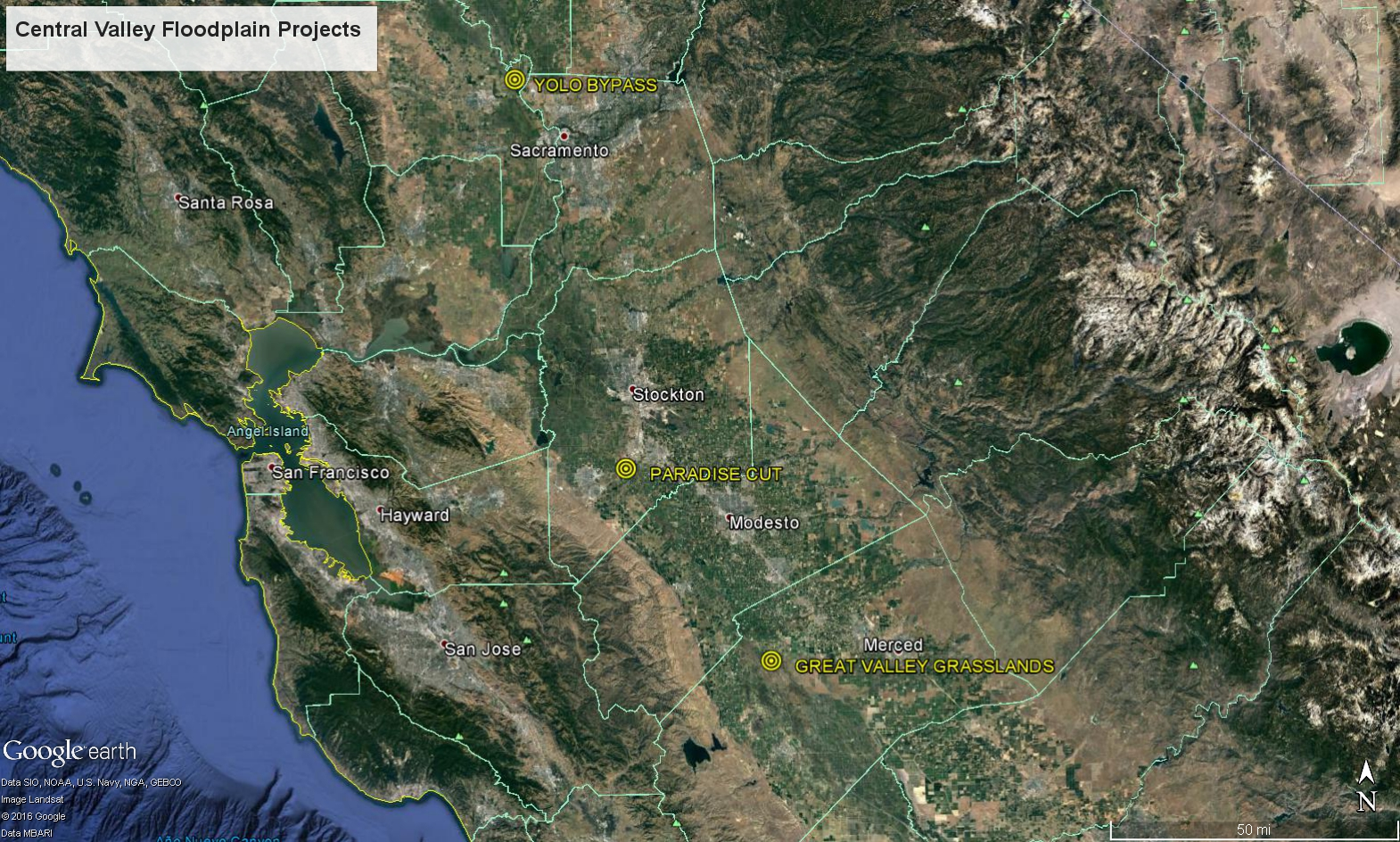 Map Of California S Central Valley Floodplain Project Locations