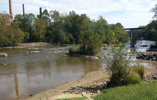 The Haw River runs free at the former location of Granite Mill Dam.   Erin McCombs